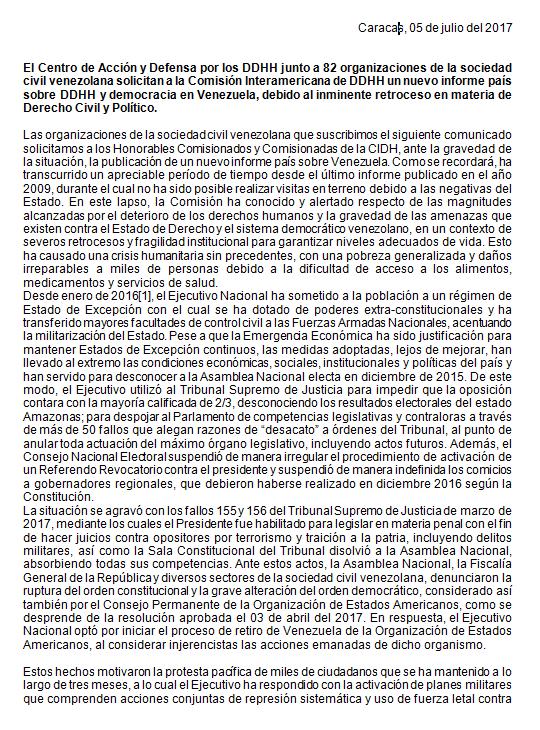 Solicitan a la CIDH un nuevo informe sobre Venezuela